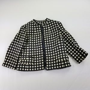 Jones New York Blazer 12 Polka Dots Black Creammc5